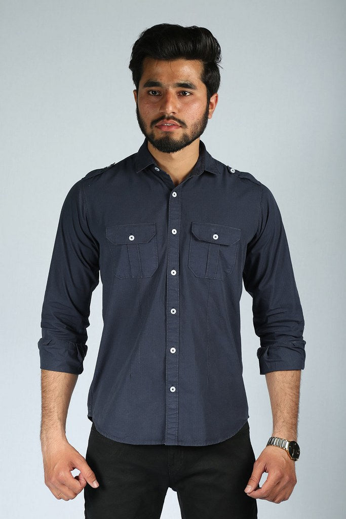 Men Western Woven Double Pocket Shirt Indigo