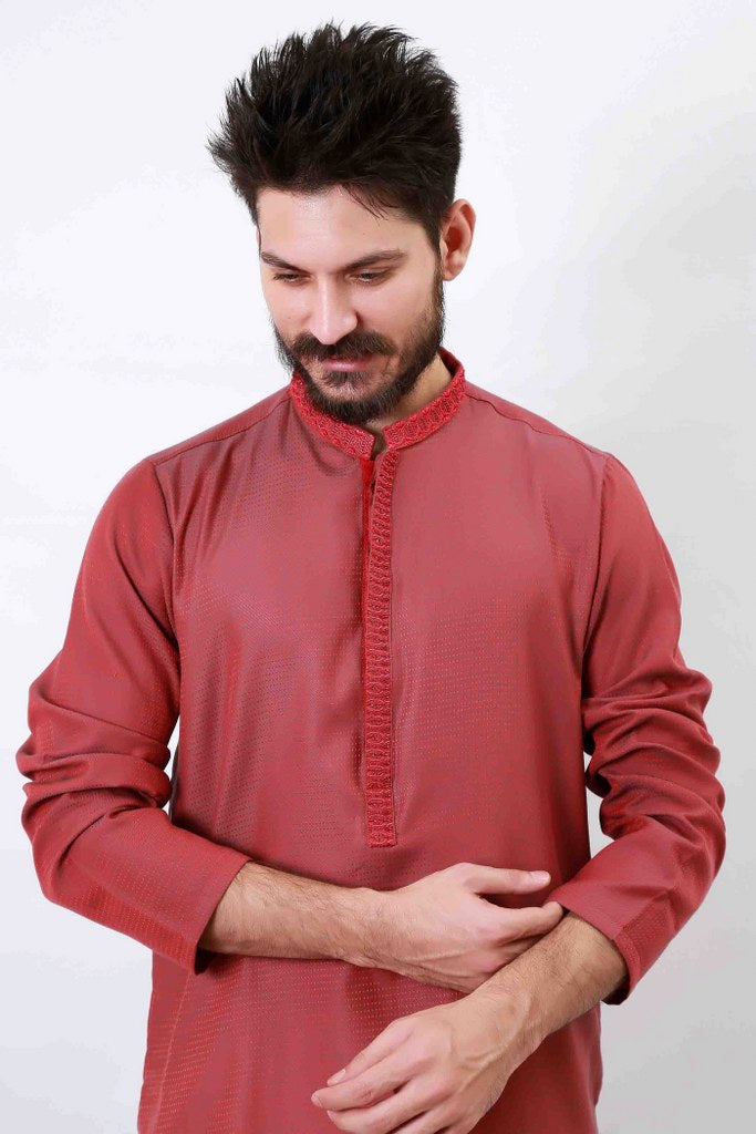 MENS WEDDING EMBROIDERY KURTA RED