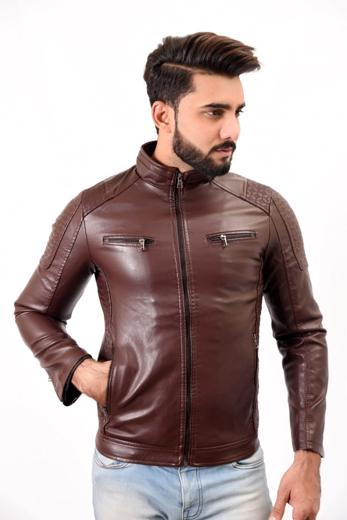 Mens PU Leather Jacket Brown