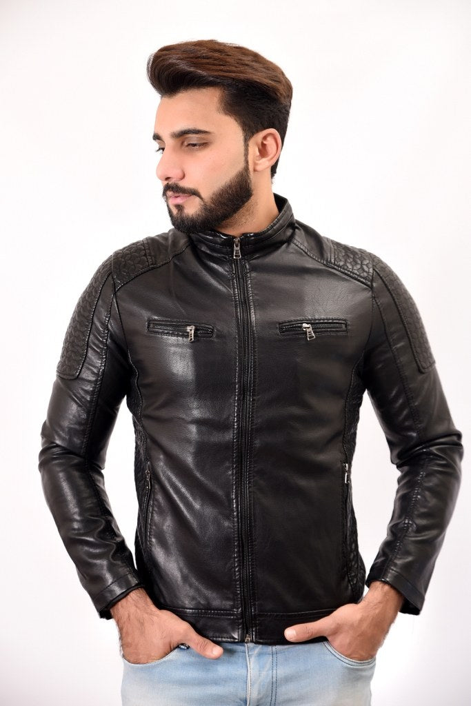 Men PU Leather Jacket Black