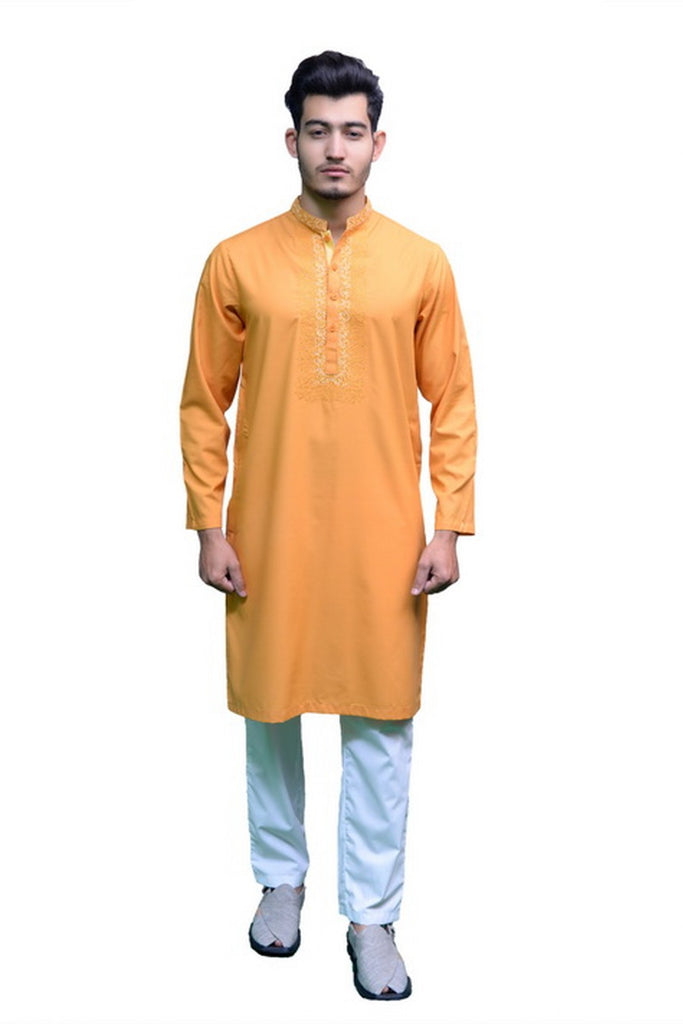 Mens Embroidery Washing Wear Kurta Yellow