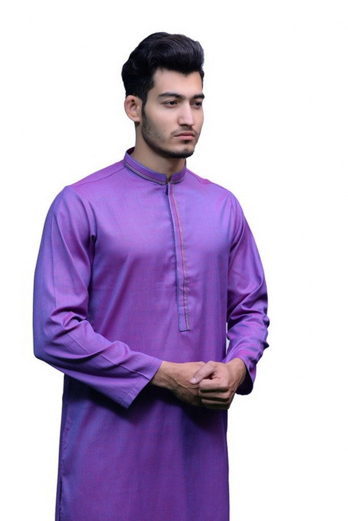Mens Embroidery Kurta Purple