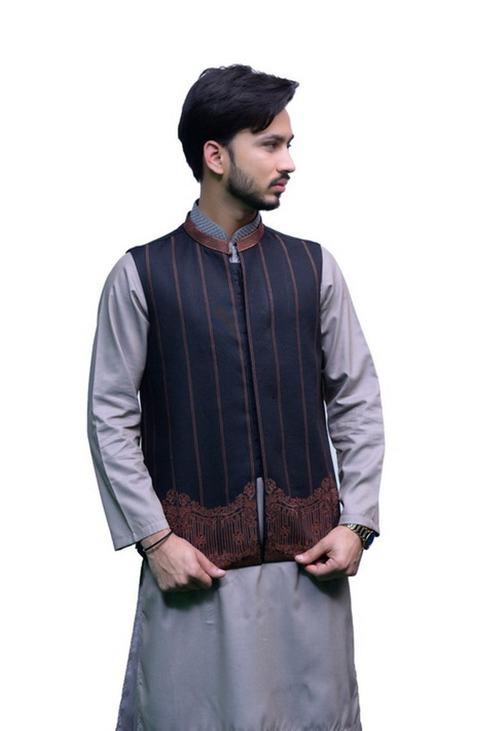 Men Waistcoat Embroidered Black