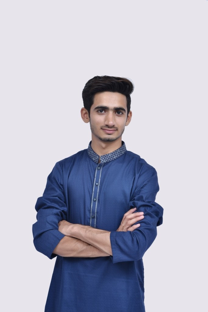 Mens Embroidery Kurta Navy