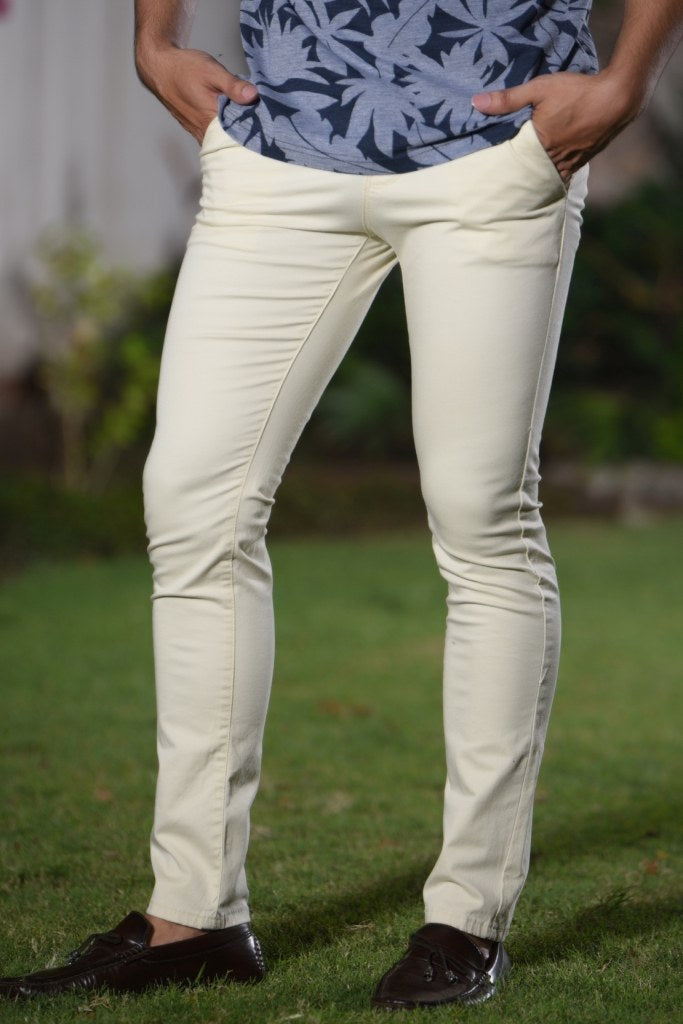 White Cotton Pants for Man