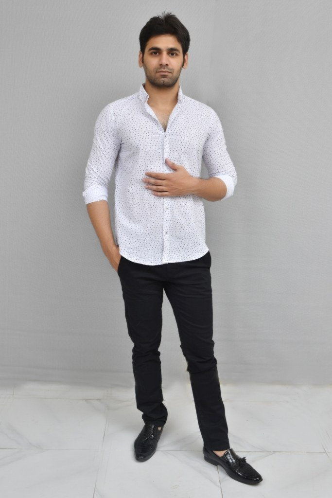 MENS WESTERN WOVEN SHIRT WHITE