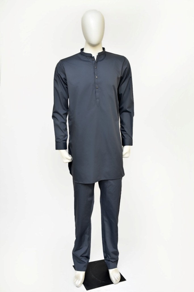 Soft-finish cotton short-lenght kurta/trouser for men with fancy metal buttons