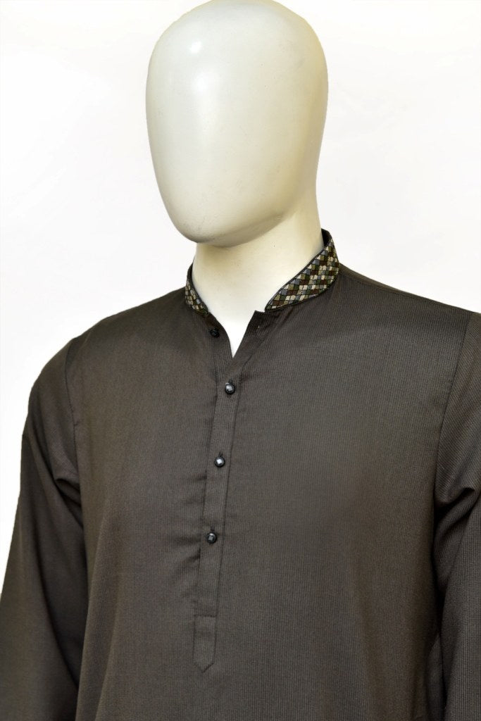 Premium textured fabric charcol kurta for men with multi-colored machine embroidered band