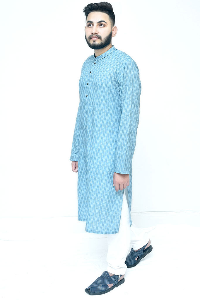 Printed Blue Cotton Kurta For Mens