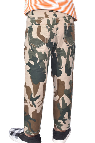 Boys Casual Camo Design Cotton Trouser