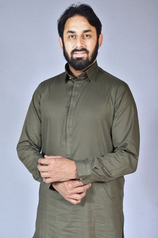 Men Cotton Kameez Shalwar Green