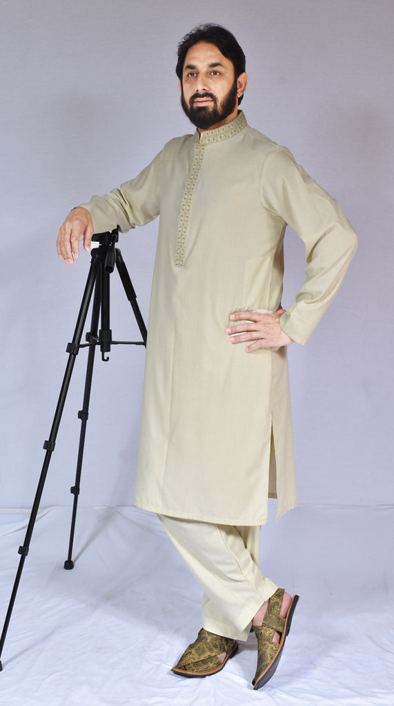 Men Embroidered Kameez Shalwar Yellow