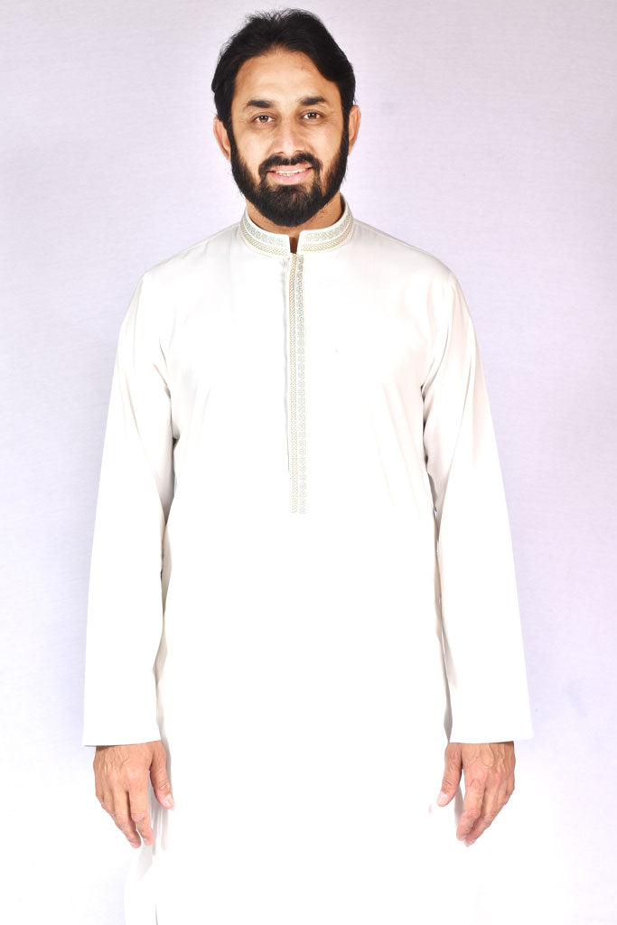 Men Wash-n-Wear Kameez Shalwar Off White