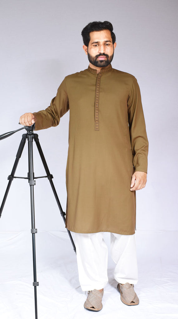 Men Wash-n-Wear Embroidered Kurta Brown