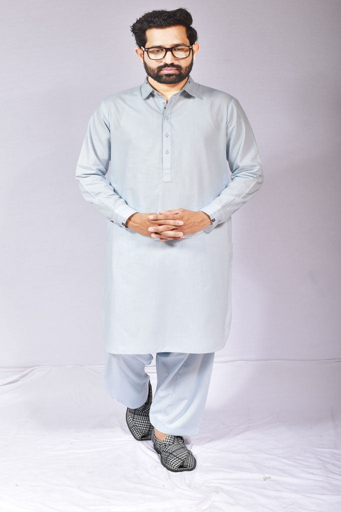 Blue Cotton Kameez Shalwar for Mens Pakistani Design
