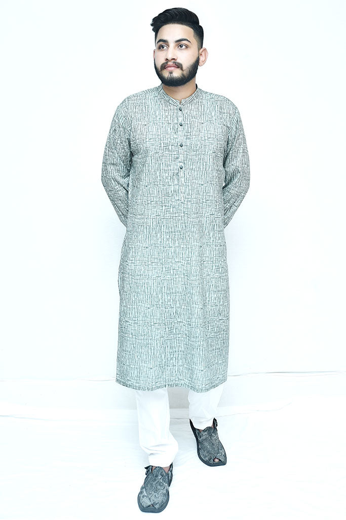Textured Grey Cotton Kurta For Mens
