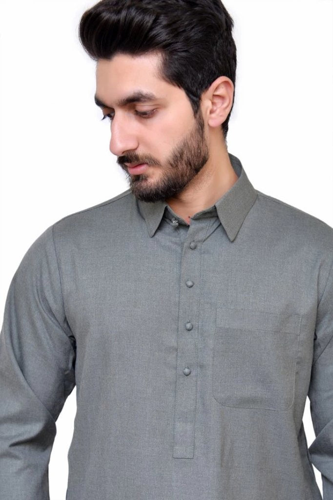 grey shalwar kameez for men
