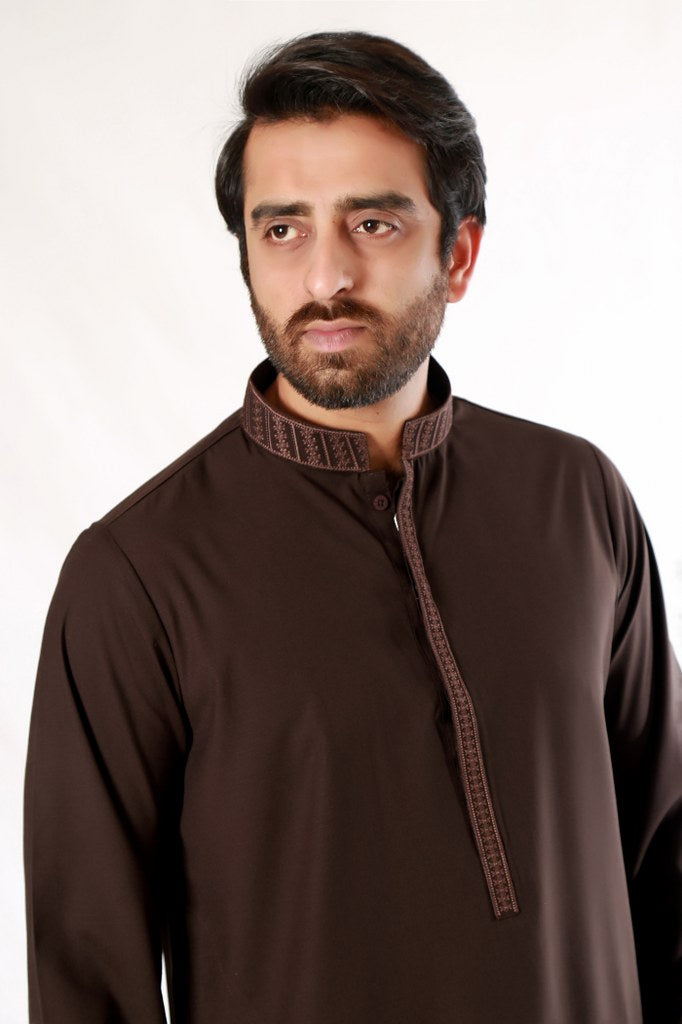 Brown Shalwar Kameez Mens