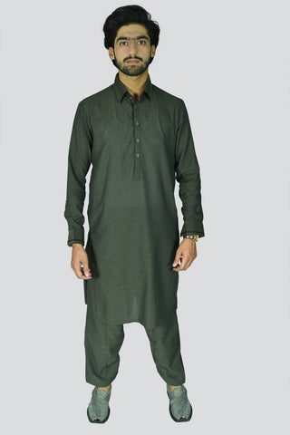 Men Premium Soft Textured Kameez Shalwar Green