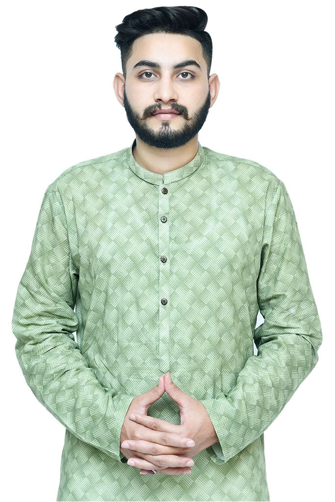 Printed Green Cotton Kurta For Mens