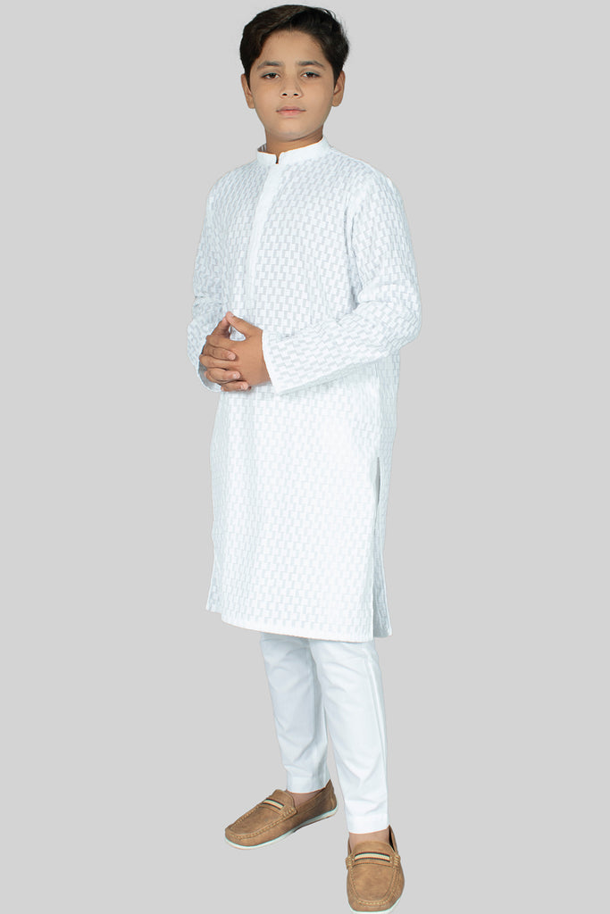 Boy Allover Shiffly Embroidered Kurta White