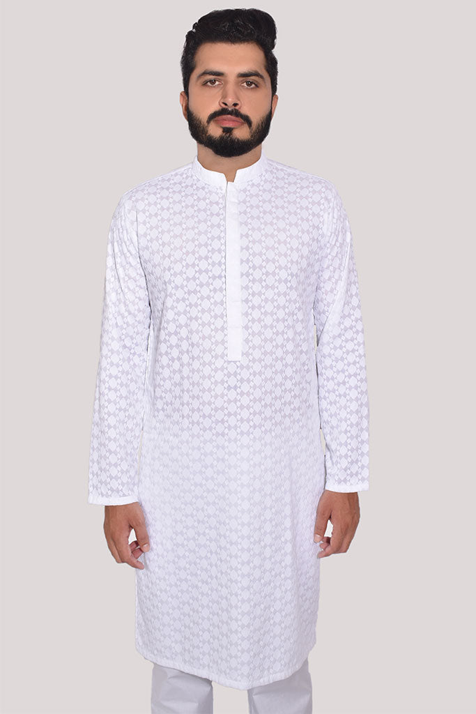 Men Allover Embroidered Kurta White
