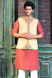 Men Khaddar Fabric Embroidered Waistcoat Brown