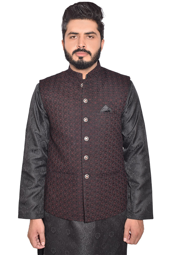 Men Self Design Waistcoat Dark Red