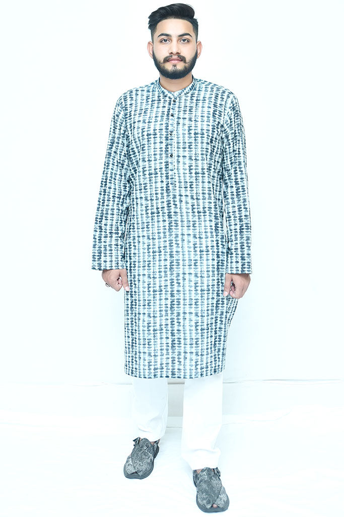 Textured Black Cotton Kurta For Mens