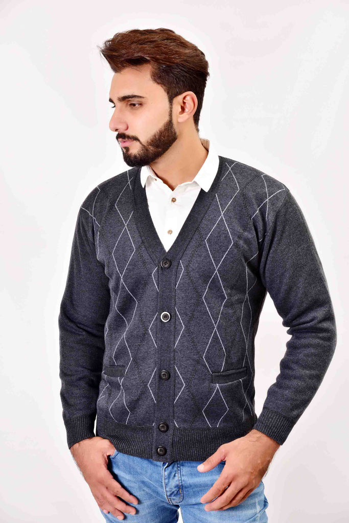 Mens V Neck Cardigan Button Jersey Grey
