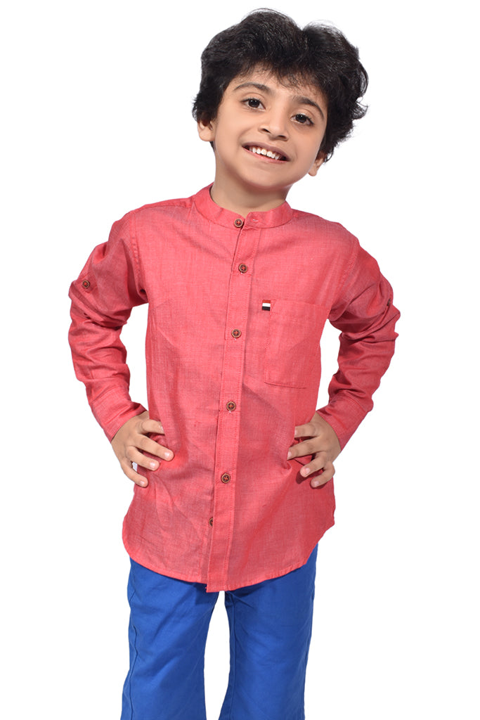 Boys Red Casual Shirt With Round Band Style