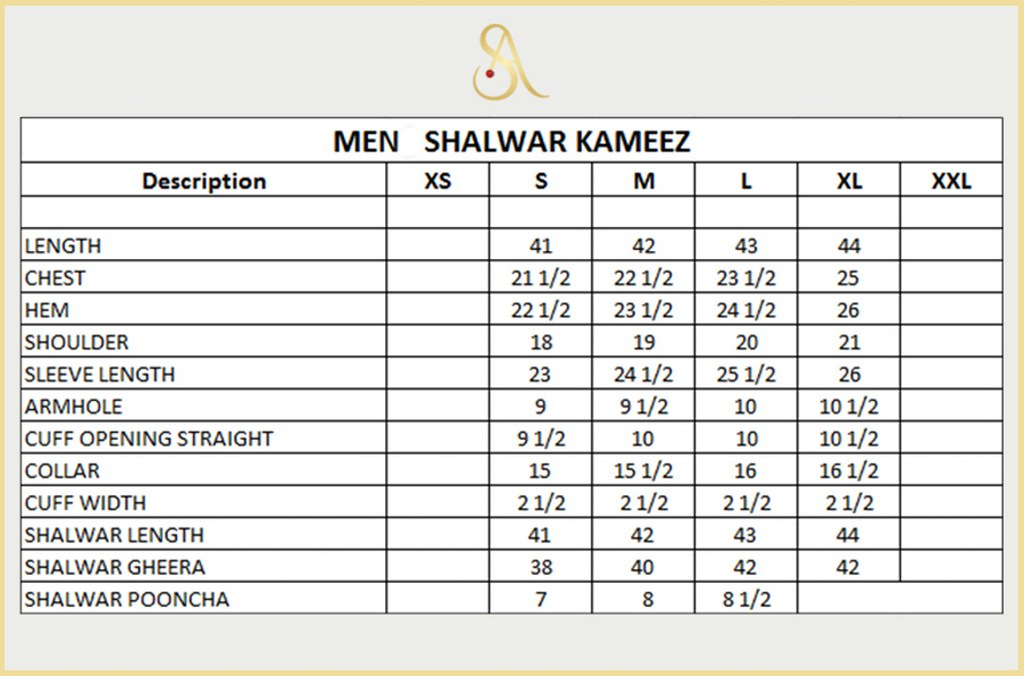 Kurta size chart for men