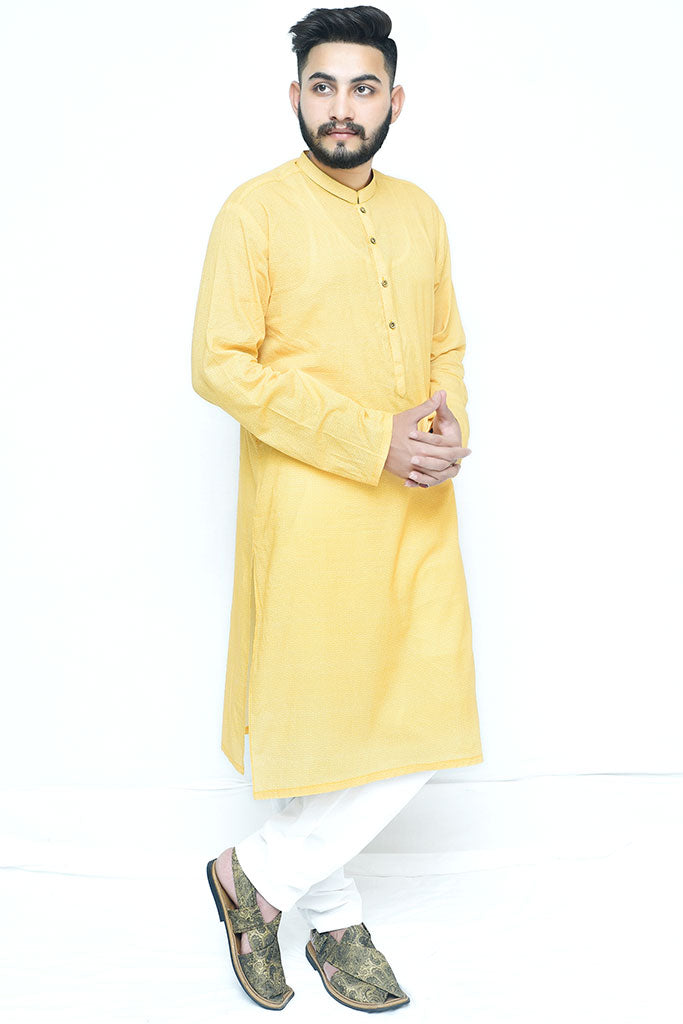 Yellow Texture Cotton Kurta Design For Mens