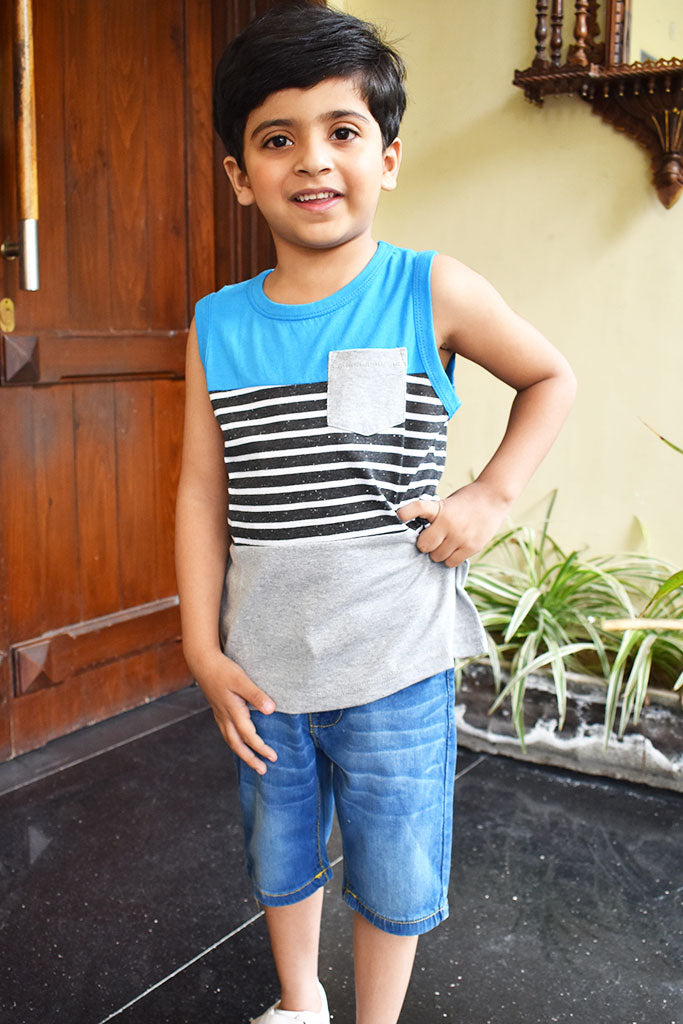 Summer Sleeveless Sando T-Shirt For Boys