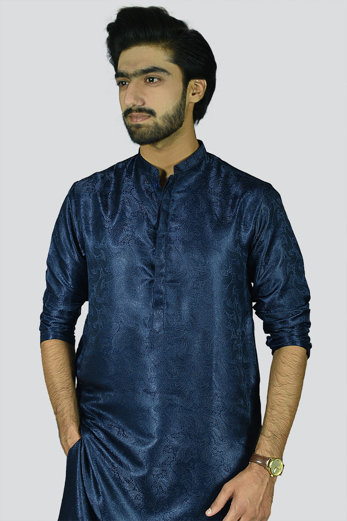 Men Formal Jamawar Fabric Kurta Navy