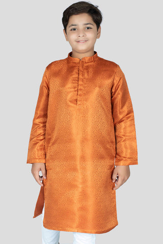 Boy Premium Jamawar Kurta Orange