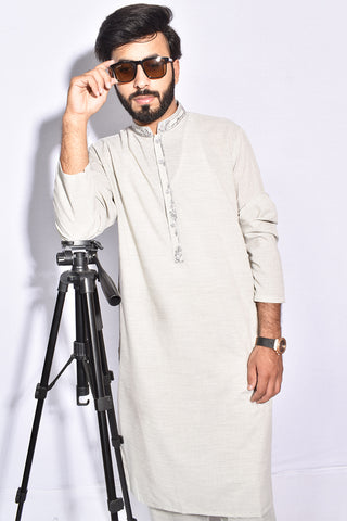 Pakistani Mens Grey Shalwar Kameez