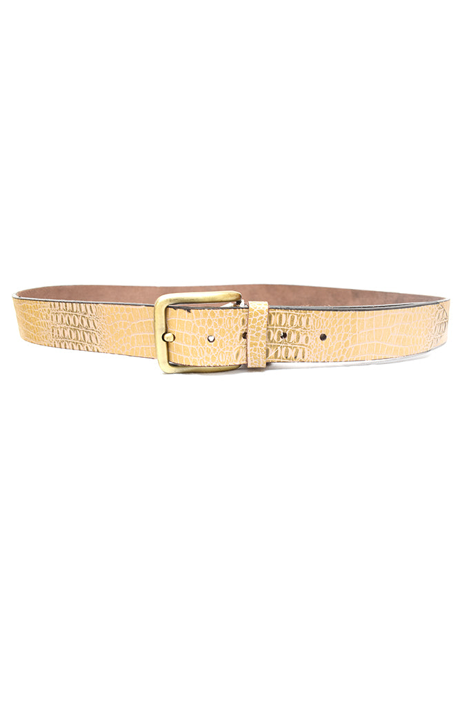 Mens Texture Leather Belts Yellow