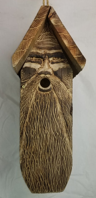 Hand Carved Wood Spirit Bird House