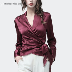 Silk Blouse Women Tops Wine Red V-Neck Long Sleeve