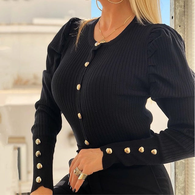 V-neck Metal Buttons Ribbed Knitted Blouse