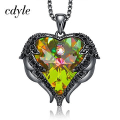 Women Copper Material Necklace with Colorful Crystal Angel Wings Heart Pendant