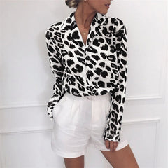 Long Sleeve Leopard Print Blouse Turn Down