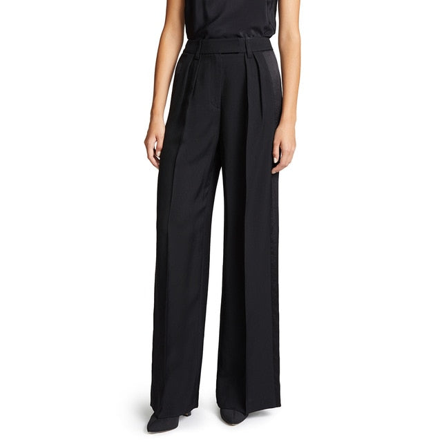 Satin Trim Draped Bottoms Loose Wide Leg