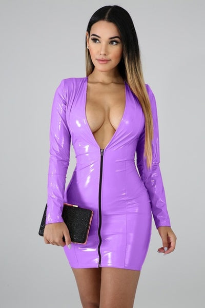Women PU Leather Dresses Zippers