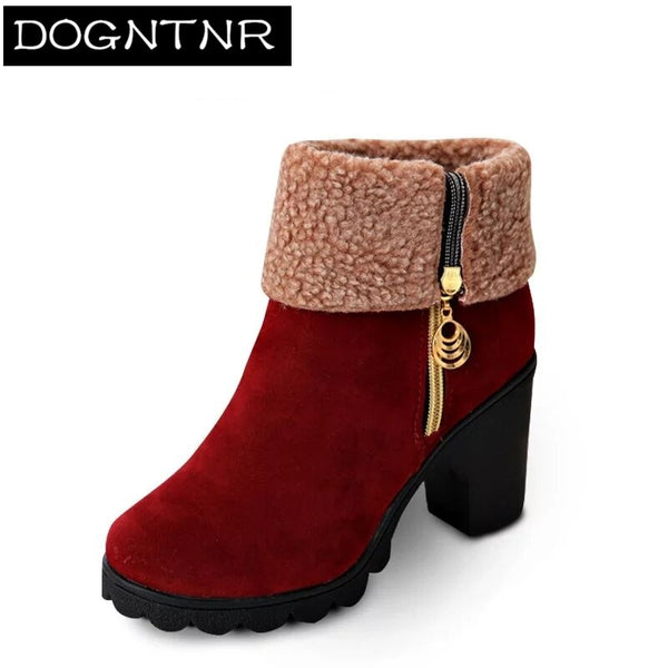 Winter High Heel Boots Warm Plush Square Heels