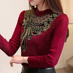 Blouse Mesh Shirt Fashion Warm Top Office Velvet Thick Lace