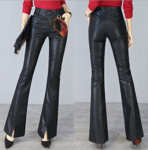High Waist Fashion Pu Leather Flare Pants