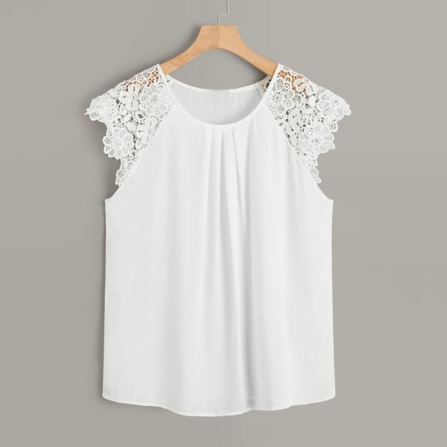 Floral Lace Blouse Casual Ladies Solid Tee