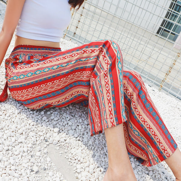 Red Women Pants Geometric Loose Bottoms